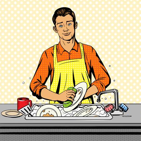 manos sucias: Hombre se lava los platos pop ilustración del arte del estilo del vector. la imitación del estilo del cómic