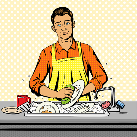 domestic kitchen: Man washes dishes pop art style vector illustration. Comic book style imitation Illustration