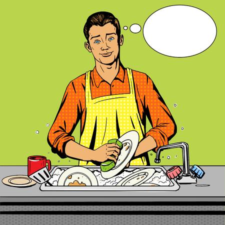 cocina caricatura: Hombre se lava los platos pop ilustración del arte del estilo del vector. la imitación del estilo del cómic