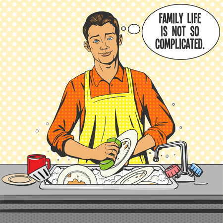 family clip art: Man washes dishes pop art style vector illustration. Comic book style imitation Illustration
