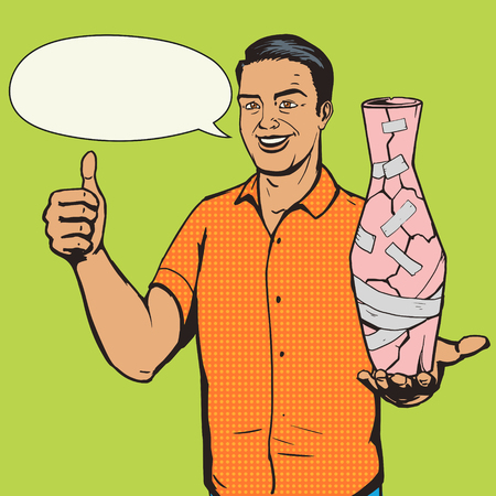 fixed: Man fixed vase with duct tape pop art style vector illustration. Comic book imitation