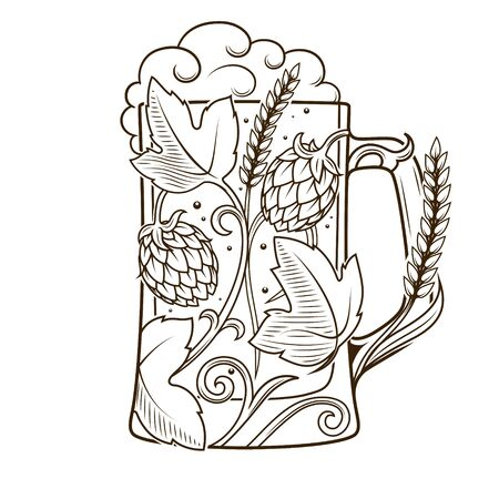 vesicles: Beer mug abstract ornament vector illustration. Engraving style