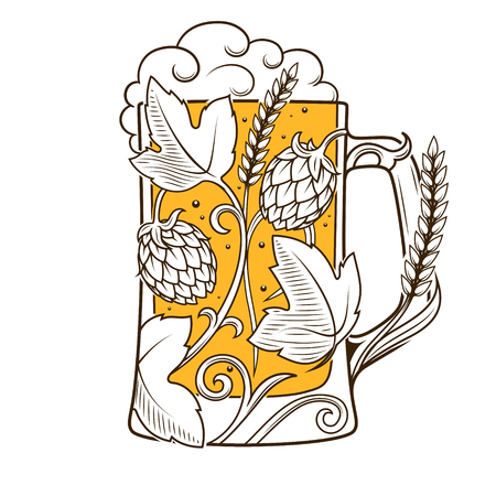 cereal bar: Beer mug abstract ornament vector illustration. Engraving style