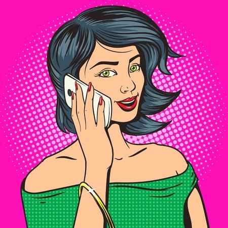 전화 팝 아트 벡터 일러스트와 함께 아름 다운 젊은 여자. 만화의 모방. 다채로운 손으로 그린 그림 일러스트