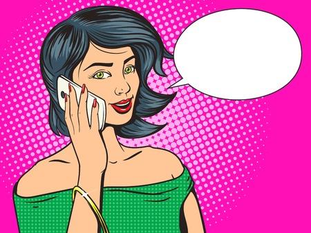 Joven y bella mujer con la ilustración del teléfono del estallido del arte del vector. imitación del cómic. La mano de colores Ejemplo dibujado Foto de archivo - 49780155