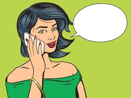 携帯電話ポップ アートのベクトル図と美しい若い女性。漫画本の模倣。カラフルな手描きの図 写真素材 - 49780157
