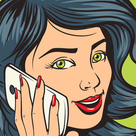 young: Beautiful young woman with phone pop art vector illustration. Comic book imitation. Colorful hand drawn illustration