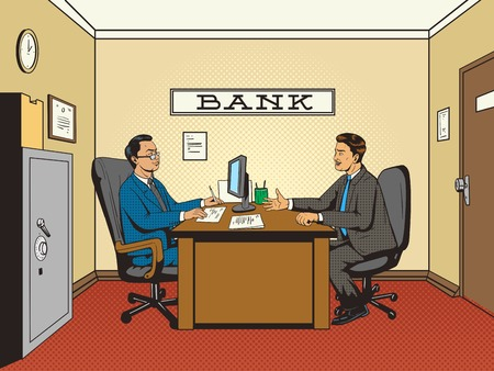 Businessman in bank pop art retro style vector illustration. Comic book style imitation. Man talks with banker Ilustração