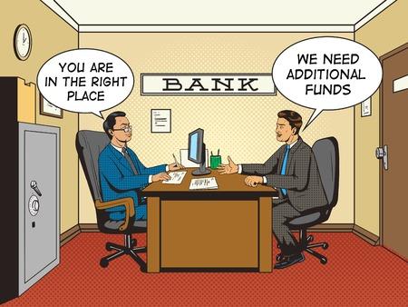 talks: Businessman in bank pop art retro style vector illustration. Comic book style imitation. Man talks with banker Illustration