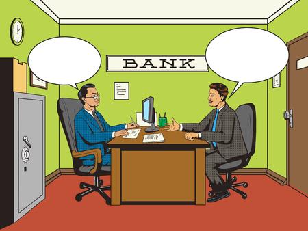 銀行ポップアートのベクトル図でレトロなスタイルのビジネスマン。コミック スタイルの模倣。人間が話を銀行で