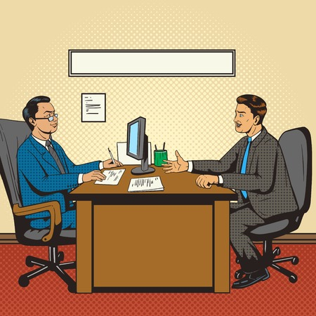 Men in office talk pop art retro style vector illustration. Comic book style imitation. Guy at the interview
