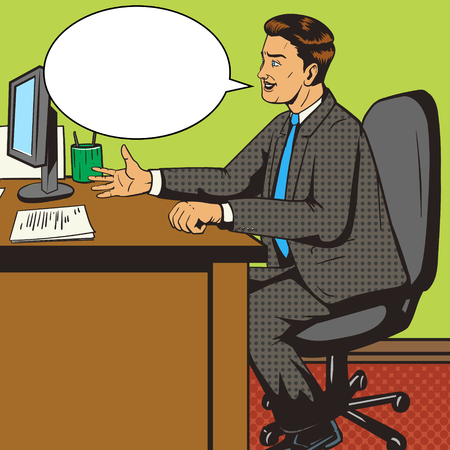 paper art: Man in office pop art retro style vector illustration. Comic book style imitation. Man on the interview