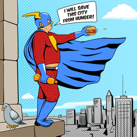 caricatura mosca: Superhéroe hombre gordo con la historieta hamburguesa arte pop estilo retro Ilustración vectorial. La imitación del estilo del cómic Vectores