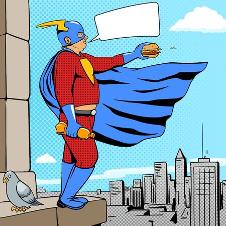 overeating: Superhero fat man with burger cartoon pop art retro style vector illustration. Comic book style imitation