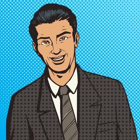 people  male: Successful businessman pop art style vector illustration. Comic book style imitation.