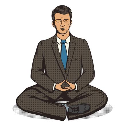 calm down: Businessman meditation cartoon pop art comic book style vector illustration. Comic book imitation Illustration