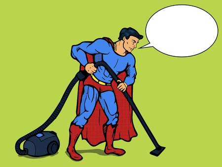 Superhero man with vacuum cleaner pop art style vector illustration. Comic book style Vettoriali