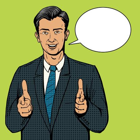 De negocios que apunta con dos manos ilustración vectorial estilo del arte pop. El estilo del cómic