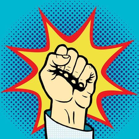 fist up: Fist hand pop art style vector illustration. Comic book style