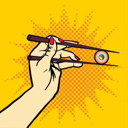 chop sticks: Hand with chopsticks and sushi pop art style vector illustration. Comic book style