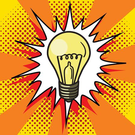 Gloeilamp lamp pop art stijl vector illustratie. Comic book-stijl
