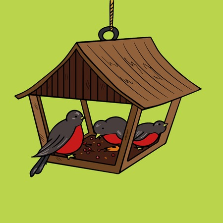 feeder: Bird feeder pop art style vector illustration. Comic book style imitation