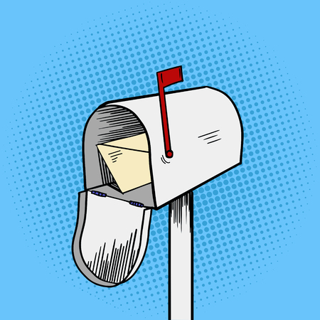 Mail box pop art style illustration. Comic book style imitation
