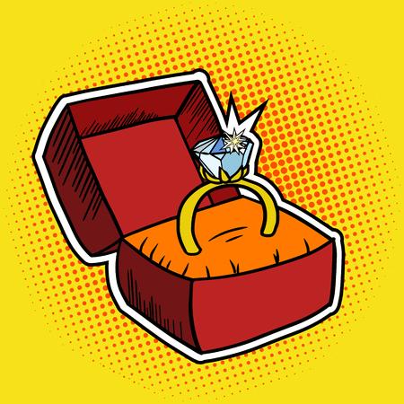 Gouden ring pop art stijl vector illustratie. Comic book stijl imitatie Stock Illustratie