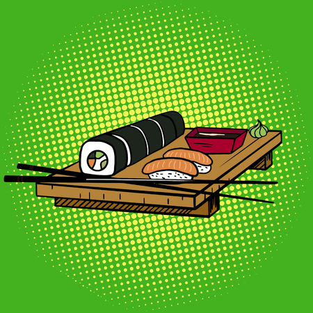 Sushi rolls pop art style illustration. Japanese food. Comic book imitation 向量圖像