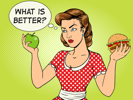 vintage fashion: Young woman with apple and burger pop art style vector illustration. Comic book style imitation. Vintage fashion