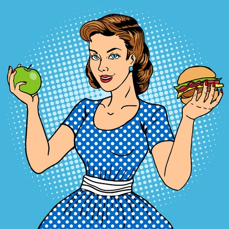 manzana caricatura: Mujer joven con la ilustración de estilo de arte manzana y hamburguesa del pop. Comic imitación del estilo del libro. Moda del vintage