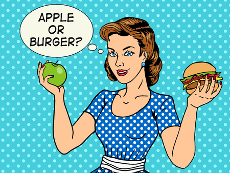 burger cartoon: Young woman with apple and burger pop art style vector illustration. Comic book style imitation. Vintage fashion
