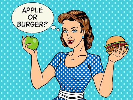 りんごとハンバーガーの pop アート スタイルのベクトル図を持つ若い女性。コミック スタイルの模倣。ヴィンテージのファッション