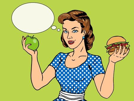 Giovane donna con l'illustrazione mela e hamburger stile pop art. Comic imitazione di stile del libro. modo dell'annata Archivio Fotografico - 50230705