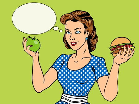 Young woman with apple and burger pop art style illustration. Comic book style imitation. Vintage fashion