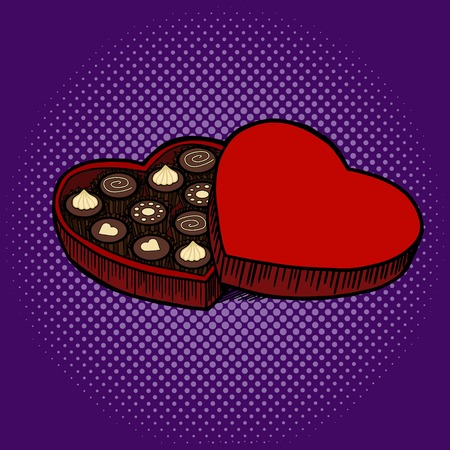 heart shaped: Heart shaped box with chocolate candies pop art style vector illustration. Comic book style imitation