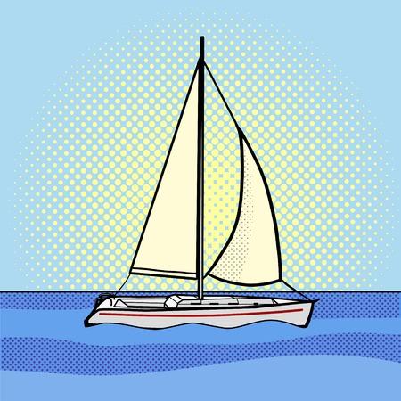 art book: Sailing yacht pop art style vector illustration. Comic book style imitation Illustration