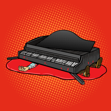 incident: Grand piano fell on man pop art style vector illustration. Comic book style imitation. Death incident
