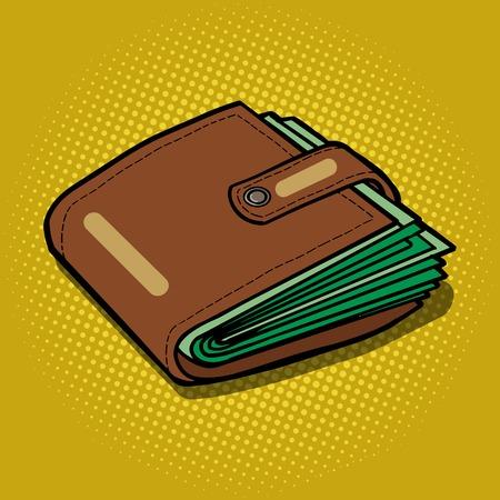 Pełny portfel z pieniędzmi pop sztuka styl ilustracji wektorowych. Styl komiksowy imitacja
