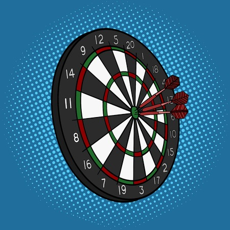 clip board: Darts hit target pop art style vector illustration. Comic book style imitation