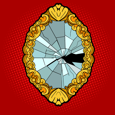 mirror reflection: Broken vintage mirror pop art style vector illustration. Comic book style imitation