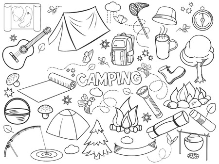 colorless: Camping design colorless set vector illustration. Coloring book. Black and white line art