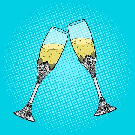 wedding  art: Wedding glasses of champagne pop art style vector illustration. Hand drawn comic book style imitation