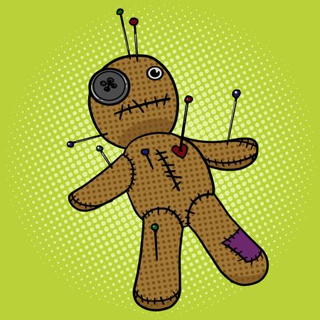 Voodoo Doll pop art stile illustrazione vettoriale. imitazione di stile fumetto