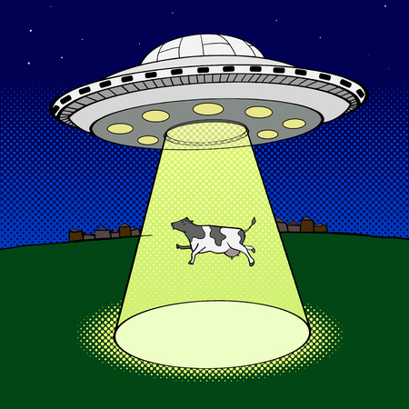 strip a cow: Ufo takes cow pop art style vector illustration. Comic book style imitation Illustration