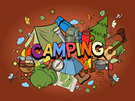 hand line fishing: Camping design colorful set vector illustration. Coloring book. Black and white line art