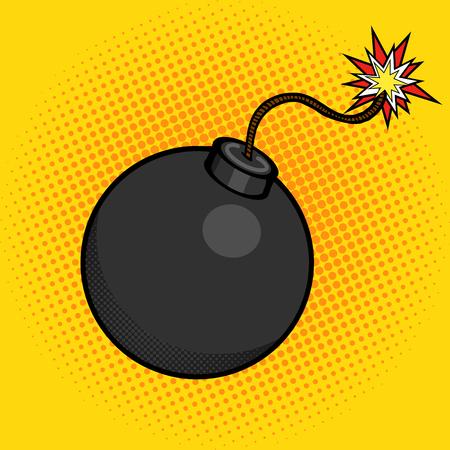 pelota caricatura: Bomba de dibujos animados con la ilustración del estallido de fuego del vector del estilo del arte. la imitación del estilo del cómic Vectores