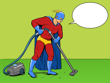 cartoon strip: Superhero with vacuum cleaner pop art style vector illustration. Comic book style