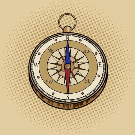 Ilustracja wektorowa stylu retro pop-artu kompas. Imitacja stylu komiksowego