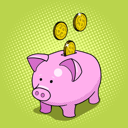 doodle art clipart: Piggy bank hand drawn pop art style vector illustration. Comic book style imitation